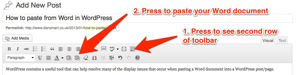 WordPress: paste from Word